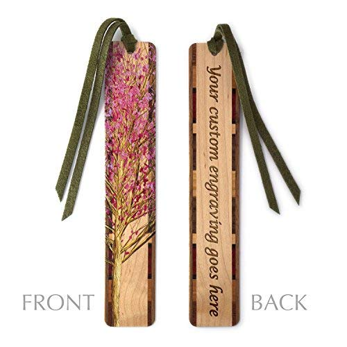 Personalized Wooden Hand Made Bookmark - Cherry Tree in Color on Maple with Green Suede Tassel - Search B06ZZC7DFW to See Non Personalized Version.