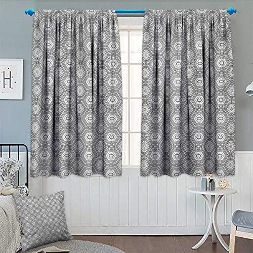 Grey and White Window Curtain Drape Abstract Pattern with Lots of Angular Elements A Kaleidoscope of Forms Decorative Curtains for Living Room 55