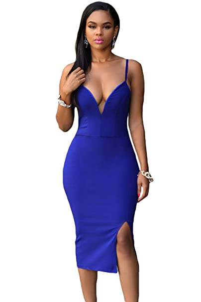 Amazon Ow Blue Front Slit Midi Dress Clothing