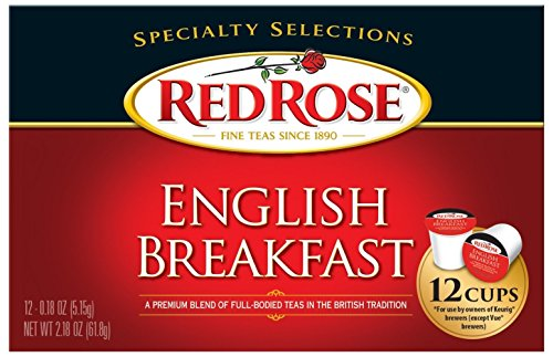 Red Rose English Breakfast Tea - 12 Single Serve Cups (1 Box)