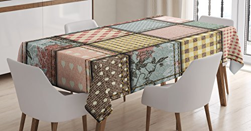 Ambesonne Shabby Flora Tablecloth, Vintage Style Patchwork Design Colorful and Details Vibes, Dining Room Kitchen Rectangular Table Cover, 60