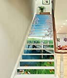 3D Forest River Dock 704 Stair Risers Decoration Photo Mural Vinyl Decal Wallpaper Murals Wallpaper Mural US Lemon (15x H:18cm x W:94cm (7''x37''))