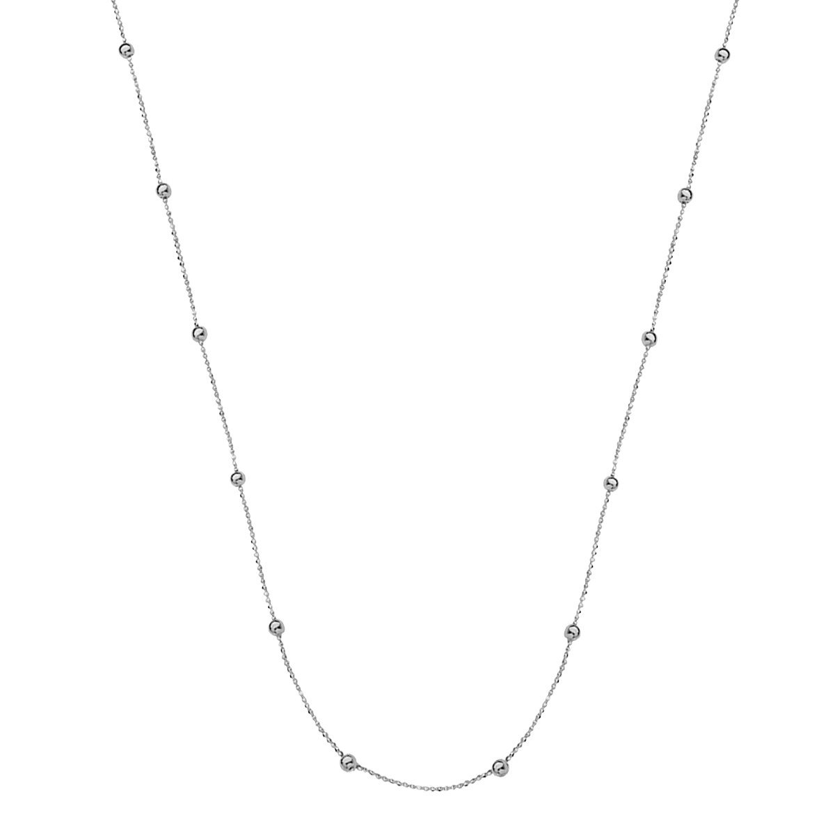 Small Micro Bead Necklace Station Style 14k White Gold, 36
