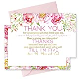 15 Floral Thank You Cards with Pink Envelopes Stationery for Girls Baby Shower Pink and Gold Party Theme