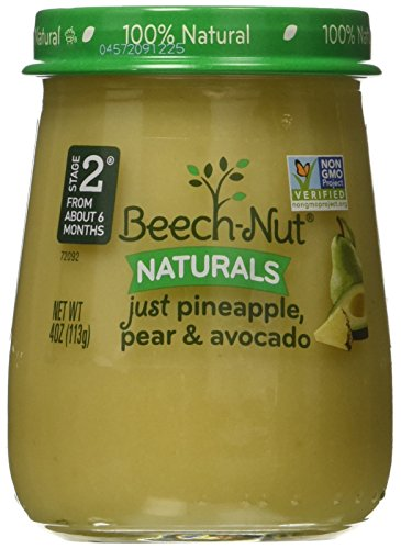 Beech-Nut Stage 2 Baby Food, Just Pineapple/Pear/Avocado, 4.0 Ounce (Pack of (Beech Nut Pears)