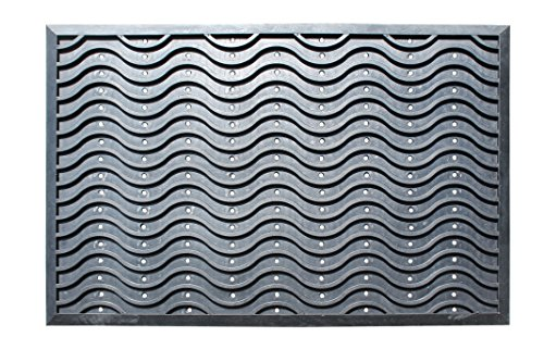 A1 Home Collections A1HCSM03-2 Doormat Heavy Duty Wavy Rubber Mat with Drainage Hole Large 24X36 Commercial, 24