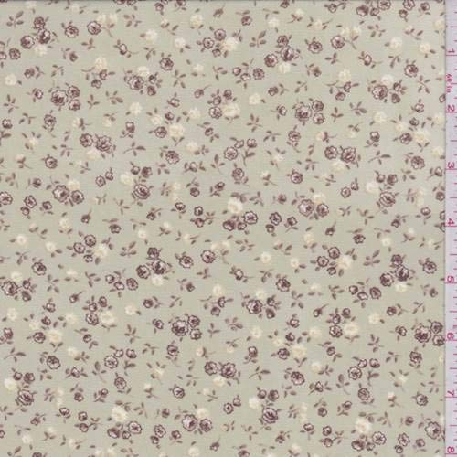 Soft Sage/Mocha Ditsy Floral Georgette, Fabric by The Yard