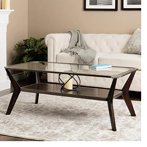 Mid Century Style Modern Glass Coffee Table with Storage Shelf Rectangular Wood Espresso and Antique Silver Bundle Includes Bonus Home Decorating eBook