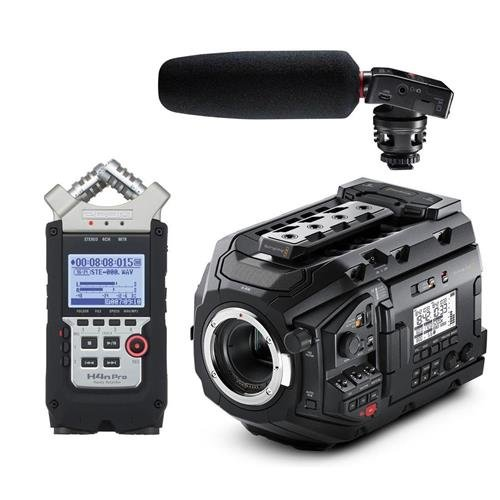 Blackmagic URSA Mini Pro 4.6K Camera with EF Mount, Bluetooth Camera Control - Bundle with Tascam DR-10SG Audio Recorder with Shotgun Mic, Zoom H4n Pro Handy Mobile 4-Track Recorder by Blackmagic Design