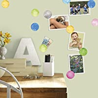 "RoomMates RMK2855SCS Watercolor Dots Peel and Stick Wall Decals (Set of 4), 10"" x 18"""