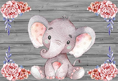 LFEEY 5x3ft Little Pink Elephant Photo Backdrop Flowers Decor Wooden Wall Background Cloth Baby Shower Kids Girl Birthday Party Events Deocration Wallpaper Photo Studio Props ()
