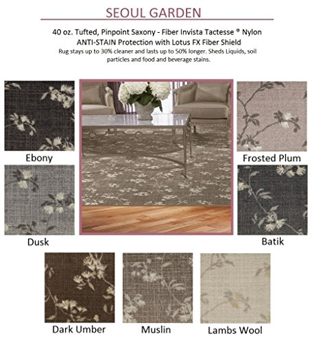 Oval 9'x12' Ebony - SEOUL GARDEN Floral with an Asian Flair - Custom Carpet Area Rug - 40 Oz. Tufted, Pinpoint Saxony - Nylon by Milliken (7 Colors to Choose From) ()