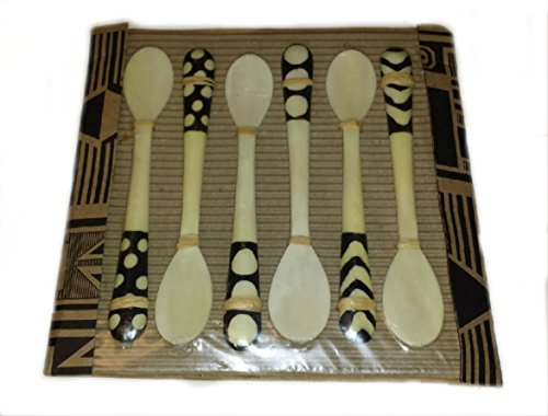 - Primitive Cow Bone Hand-Carved Spoon Set of 6 Decorative Cutlery Pack