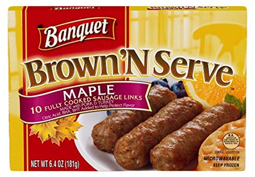 - Banquet Brown 'N Serve Maple Precooked Sausage Links, 6.4 Ounce Box, 10 Count