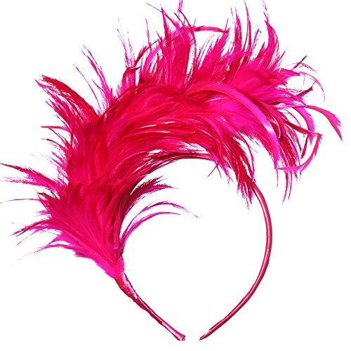 BABEYOND 1920s Fascinator Gatsby Feather Headband Kentucky Derby Headpiece for Cocktail Wedding Tea Party (Rose Red)