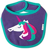 Izzy and Owie Rainbow Unicorn Snap 0-12 Months Baby Bib, Purple, 1