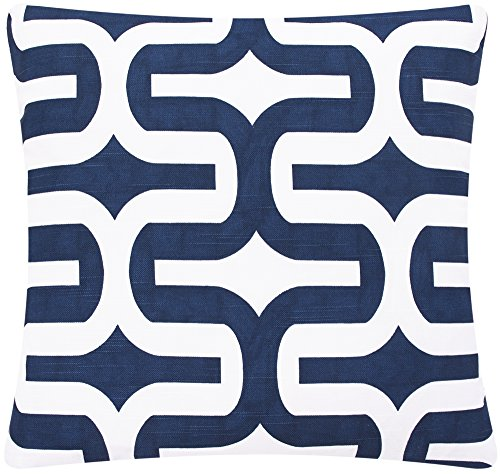 Chloe & Olive Mazy Blue and Brown Collection Contemporary and Geometric Reversible Pillow Cover, 18-Inch