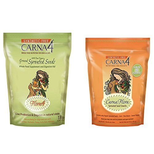 Carna4 Nutritional Sprouted Seeds Dog Biscuits Variety Pack – 16-18 Ounces – Flora4 Seeds Topper and Grain-Free Biscuits (2 Pack) Review