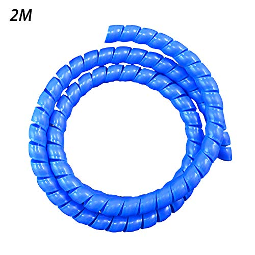 2 m de alambre de tela, flexible en espiral, banda de manga, tubo de gestión de cables, protector de cable de 8 mm, Azul