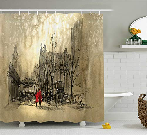 Ambesonne Romantic Shower Curtain, Couple in Love Walking in The City Streets in Rainy Day Romance Dramatic Urban Scene, Cloth Fabric Bathroom Decor Set with Hooks, 75