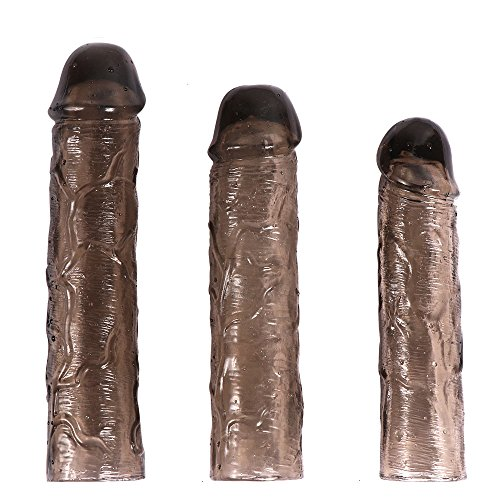 Dimlan 3PCS Reusable Penis Sleeve Extender Clear Silicone Extension Sex Toy Cock Enlarger Condom Sheath Delay Ejaculation Toys for Men (3pcs Small, Medium and Large Included).72-1