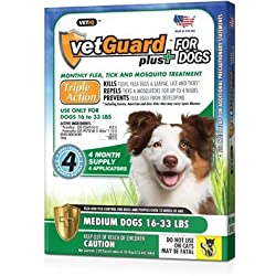 Vetguard Plus for Dogs 8 Month Supply (in 2 Pak) (Medium Dogs 16-33 Lbs)