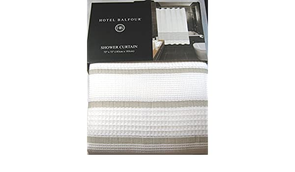 Amazon Hotel Balfour Premium Quality Fabric Shower Curtain White And Beige 100 Cotton 72 X Home Kitchen