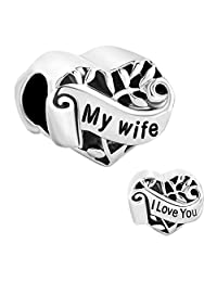 Heart I Love You My Wife Charm New Sale Cheap Beads Fit Pandora Jewelry Charms Bracelet Gifts