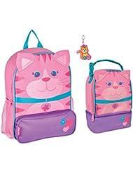 Stephen Joseph Girls Sidekick Cat Backpack, Lunch Pal and Zipper Pull Set