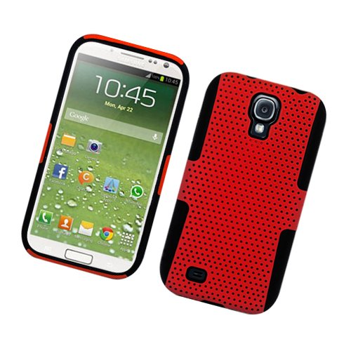 Wydan Case Compatible for Samsung Galaxy S4 i9500 - Hybrid Mesh Hard Protective Skin Case Cover - Red on ()