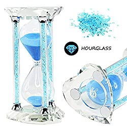 SZAT 30 Mins Crystal Heart Shape Hourglass Sand glass Sand Timer with Gift Box (Blue)