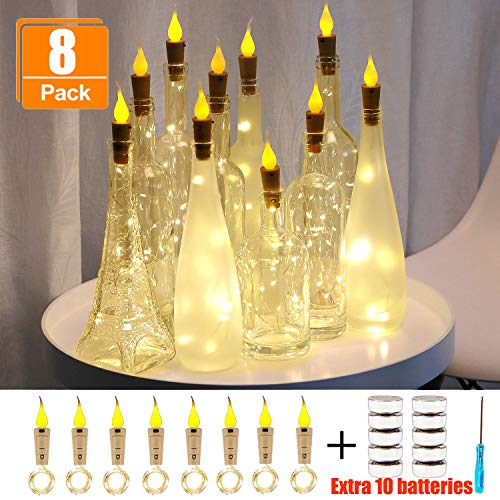 (Murelan Flame Cork Lights, 8 Pack Wine Bottle Lights Battery Operated Lights,Christmas for Party,Christmas,Halloween,Wedding,DIY Decor - Warm White)