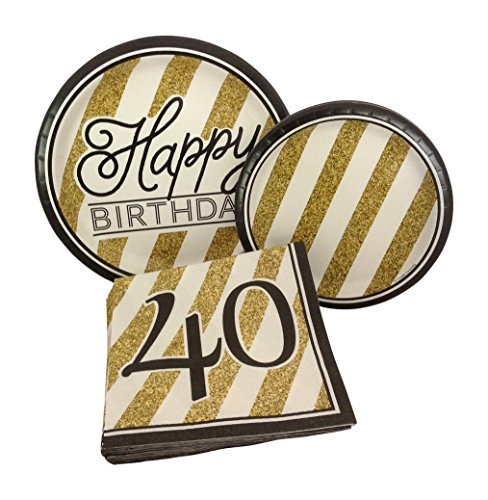 Black and Gold Happy 40th Birthday Party Bundle with Paper Plates and Napkins for 8 -