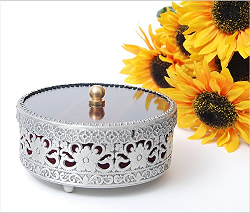 SEHAMANO Vintage Antique Round Jewelry Organizer Decorative Trinket Box Ring box Classic Metal Case 4 inch (Matt Grey (Tin)) ()