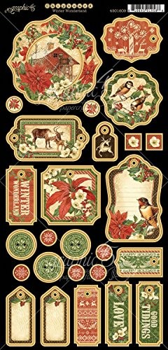 Graphic 45 Winter Wonderland Die-Cut Chipboard Embellishments