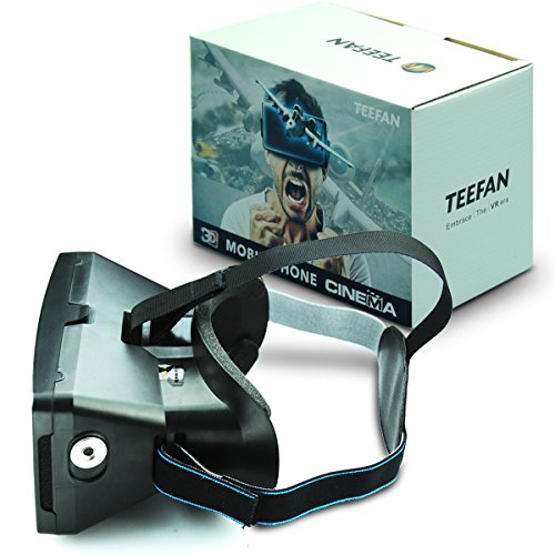 TEEFAN Plastic Magnet Function Adjustable Pupil Distance Google Cardboard 3D VR Virtual Reality Headset Game Movie Video Glasses for iPhone Samsung HTC Nexus LG with Full Amount Headband (Black)