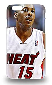 Shock Dirt Proof NBA Miami Heat Mario Chalmers #15 Case Cover For Iphone 6 3D PC Soft Case