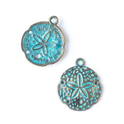 Cherry Blossom Beads 21x24mm Green Bronze Colored Pewter Sand Dollar Charm - 10 per Bag ()