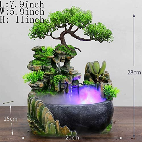 Decoration Crafts,Desktop Fountain Pendant Rockery Water Small Fish Tank Gift Decorations-Atomized 11inch