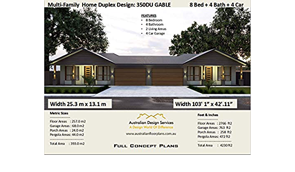 Multi Family Duplex House Plans for 2 Family - 8 Bedroom 4 ...