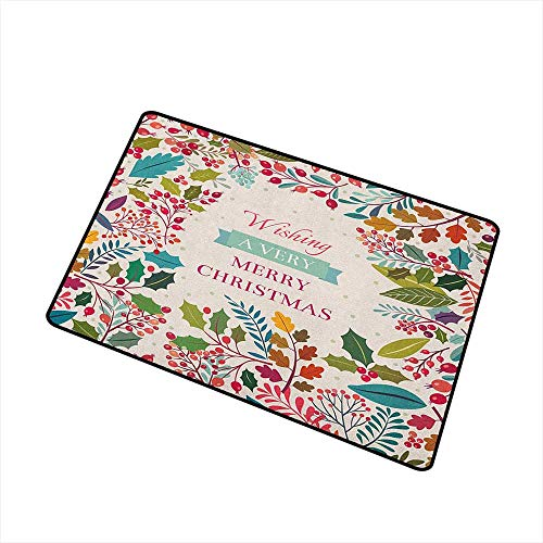 (Sillgt Christmas Pet Doormat Colorful Botanical Frame with Blossoms Herbs Holly Artistic Design Label Print with No-Slip Backing 24