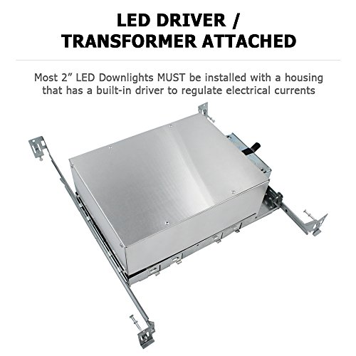 "ESD Tech 4 Pack 2"" Inch LED New Construction Recessed Housing Can with Driver for Ceiling Downlights. Airtight, IC Rated, Dimmable, UL Listed, Energy Star, Title 24 Certified TP24 Connection by ESD TECH (Image #1)"