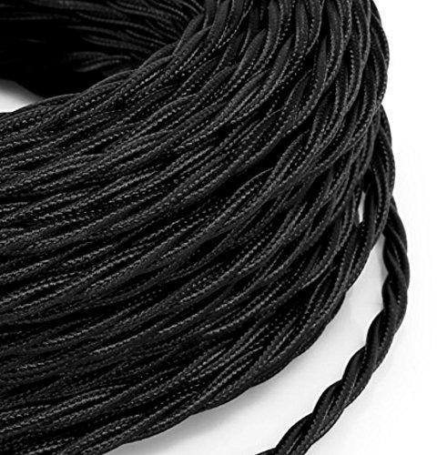 Cable elé ctrico trenzado Pesca estilo vintage revestido de tela multicolor negro secció n 2 x 0,75 para lá mparas, lá mparas, abat Jour, diseñ o. Made in Italy 75para lámparas diseño. Made in Italy MeToo Des