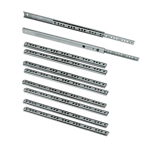EMUCA Guias Laterales para cajones con rodamiento de Bolas 17mm x 246mm, extraccion Parcial, Pack de 5 guias