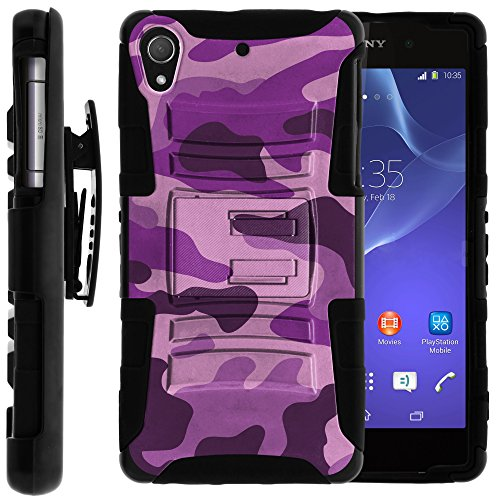 Sony Xperia Z2 Case, Sony Xperia Z2 Holster, Two Layer Hybrid Armor Hard Cover with Built in Kickstand for Sony Xperia Z2 from MINITURTLE   Includes Screen Protector - Purple Camouflage
