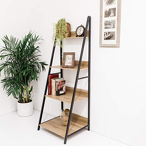 C-Hopetree Ladder Shelf Bookcase Freestanding Plant Stand Lounge Room Home Office Bathroom Storage Vintage Wood Look Accent Display Furniture Metal Frame