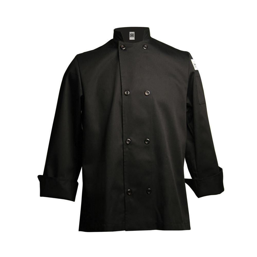Chef Revival Unisex San Jamar 24/7 Poly Cotton Blend Long Sleeve, Black, 4X-Large