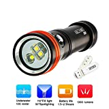 Archon D15VP Diving Video&Spot Light Cree XM-L2 U2 Lamp Outdoor Super-bright LED 1300 Lumens Flashlight Waterproof Travel Flashlight Powered by 1 X 18650 Li-ion Battery with Skyben USB Light