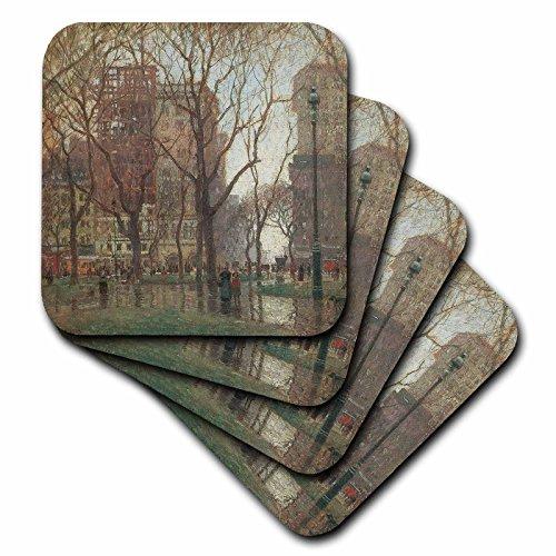 3dRose Rainy Day, Madison Square New York by Paul Cornoyer Ceramic Tile Coasters (Set of 4)