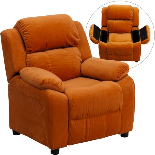 Winston Direct Kids' Series Deluxe Padded Contemporary Orange Microfiber Recliner with Storage Arms by Winston Direct